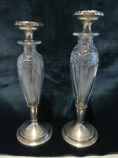 2 Sterling Silver Mounted Cologne Vanity Perfume Bottles Art Nouveau Etch Glass