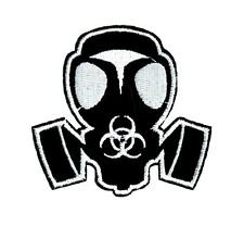 Gas Mask Bio Hazard Sign Patch Iron on Applique Gothic Clothing Zombie Undead