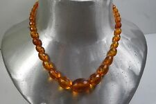 ANTIQUE VICTORIAN CHINESE GENUINE FACETED  HONEY  AMBER BEAD NECKLACE 18,6gr