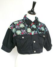Fiorucci black jeans cropped jacket - Fiorucci - Indian embroidery - UK 12
