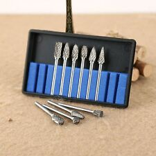 Set of 10pcs Tungsten Solid Carbide Burrs Die Grinder Bit for Dremel Rotary Tool