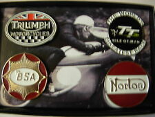 Isle of Man TT Bikers badge Collection v2. British bikes, Norton, Triumph, BSA,