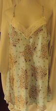 Morgan Taylor Satin Chemise with lace trim Light Blue floral print Size X-Large