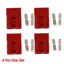 4 Pcs Red Battery Quick Connector Plug 50A 8AWG Disconnect Winch Trailer Truck