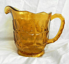 Art Deco Heavy Amber Pressed Glass Water Jug - Stunning Piece c 1930s