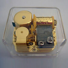 CHIM CHIN GHER-EE Acrylic Hand Crank Gurdy Gold Movement Music Box