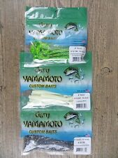 """LOT OF 3 PACKAGES - GARY YAMAMOTO 6"""" CURLY TAIL WORM - BASS FISHING - 3 COLORS"""