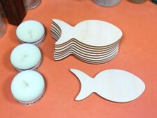 WOODEN FISH Shapes 8.9cm (x10) laser cut wood cutout craft shape blanks