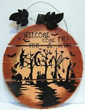 "PUMPKIN ROUND WOODEN WALL HANGING - halloween WELCOME - 17"" sign Wood Rustic NEW"