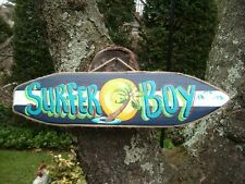 SURFER BOY TROPICAL DECORATIVE SURFBOARD ART DECOR. BABY GIRLS KIDS ROOM SIGN