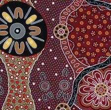 AUSTRALIAN ABORIGINAL QUILTING FABRIC - WOMEN'S BUSINESS BLACK -  by FQ or METRE
