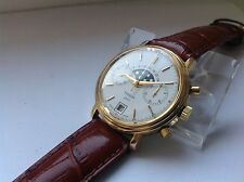 Rare TISSOT Moonphase Manual Chronograph Valjoux 7733 Gold Pl. 37mm Man's Watch