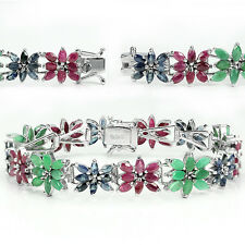 Sterling Silver 925 Genuine Marquise Ruby, Emerald & Sapphire Bracelet 7 Inches