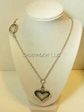 """Floating living locket charm necklace double locket heart round magnetic 30"""""""