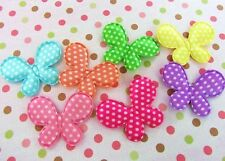 """70 Satin Polka Dots Color Butterfly 1.75"""" Applique/Padded/Bow/Sewing H98-Bright"""