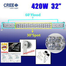"Curved 32""INCH 5D 420W CREE LED Combo Work Light Bar Offroad Driving White LAMPS"