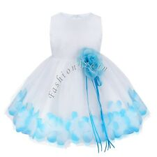 Blue Petals Flower Baby Girls Recital Pageant Wedding Princess Party Tulle Dress