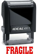 FRAGILE stamp text on the IDEAL 4911 Self-inking Rubber Stamp with RED INK