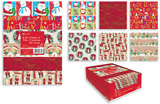 12 x Sheets Christmas Gift Wrap 6 Designs 50cm x 50cm Presents Wrapping Paper