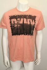 DKNY Jeans T-Shirt S-Sleeve Color Peach/Black Sz Large New York NWOT Crew Neck
