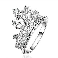 Silver Crown elegant women wedding bridal ring diameter 17 mm size O FR196