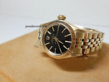Rolex Ladies Vintage 14K Yellow Gold Oyster Perpetual Black Dial. Ref# 6719