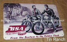 vintage BSA MOTORCYCLE TIN SIGN Bantam Golden Flash MOTORBIKE classic bike retro