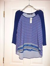 """ATTENTION"" WOMEN'S HI-LOW CASUAL TOP Sz XL BLUE w/ DESIGN 3/4 SLEEVE NEW w TAG"