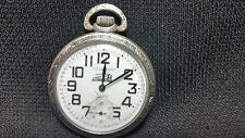Delemont Denex Co. 14S 17J Montgomery Dial Engraved Train Engine Pocket Watch