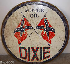 "DIXIE MOTOR OIL USA,ROUND VINTAGE-STYLE 12"" METAL WALL SIGN OIL/PETROL GARAGE"