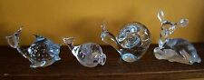 Four (4) Clear Glass Collectible Figurines, Fawn, Snail, Blow Fish & Whale