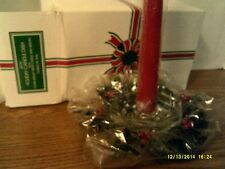 VTG AVON  HOLIDAY CANDLE DISH/MEDLEY TAPER CANDLE/WREATH NEW IN BOX-FREE SHIP