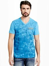 New Guess Mens V- neck Tee T-shirt Top Blue, Size XXL, NWT
