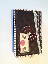 Brand New Faux Leather Checker Board Teddy Bear 3D Bow Flower Wallet Purse Brown