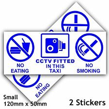 2 No Eating,Drinking,CCTV Fitted Stickers-Taxi/Minicab Cab Notice Sign- Ext 50mm