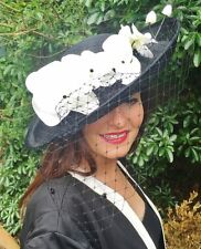 LARGE BLACK WHITE FORMAL DISC HAT SPOTTED VEIL WEDDING RACES MOTHER OF THE BRIDE