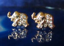 Ohrstecker Ohrring Elefant vergoldet mit Kristall weiß