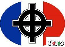 STICKERS AUTOCOLLANTS CROIX CELTIQUE - BRETAGNE - FRANCE TRICOLORE- NATIONALISME