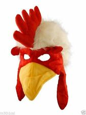 Adult Child Furry Rooster Cock Chicken Bird Hat Cap Mask Beak Costume Accessory