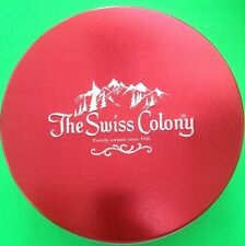 'THE SWISS COLONY' RED & SILVER COOKIE TIN CANISTER CONTAINER