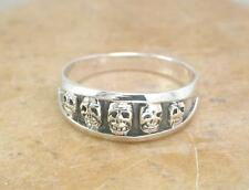 AWESOME STERLING SILVER SKULLS BAND RING size 8 SKULL  style# r0947
