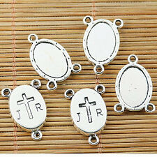 6pcs tibetan silver tone cross oval cabochon setting connectors EF1768