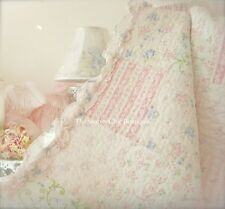 Queen Quilt Set Shabby Patchwork Vintage Pink & Periwinkle Blue Ruffle Chic NEW