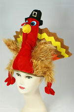 Deluxe Thanksgiving Turkey Hat Gobble Gobble Funny Head Cap Furry Bird Feathers
