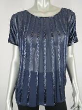 NWT $398 JOIE XS Silk Navy Blue Beaded Striped Cap Sleeve Top Sheer Blouse NEW