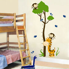 Giraffe Monkey Tree Children's Height Chart Wall Stickers REMOVABLE Vinyl Decals