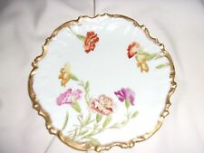 Limoges T & V Heavy Gold Scalloped Edge Plate Colorful Carnations