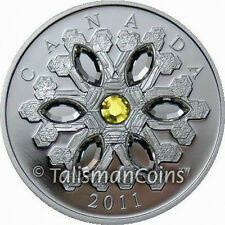 Canada 2011 Snowflake $20 Pure Silver Proof with TOPAZ Swarovski Crystal