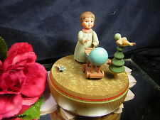 """Vintage Anri Music Box Made in Italy """"Born Free"""" Girl Baby Buggy Reuge Swiss Vin"""