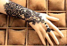 New Style Fashion Bridal Lady Black Bead Rose Lace Flower Bracelet Ring Wedding